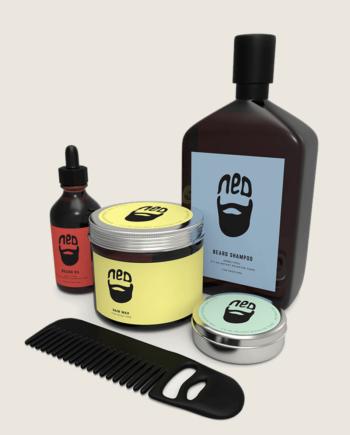 washbags - man kit - Men's grooming pack - NED beard comb - NED beard oil comb - NED wax for beards - men's hair wax -